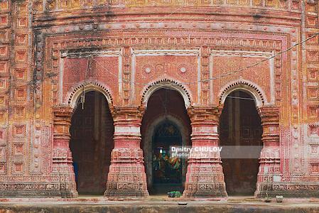 Pancharatna Govinda Temple facade in Puthia, Bangladesh. (Dmitry Chulov)