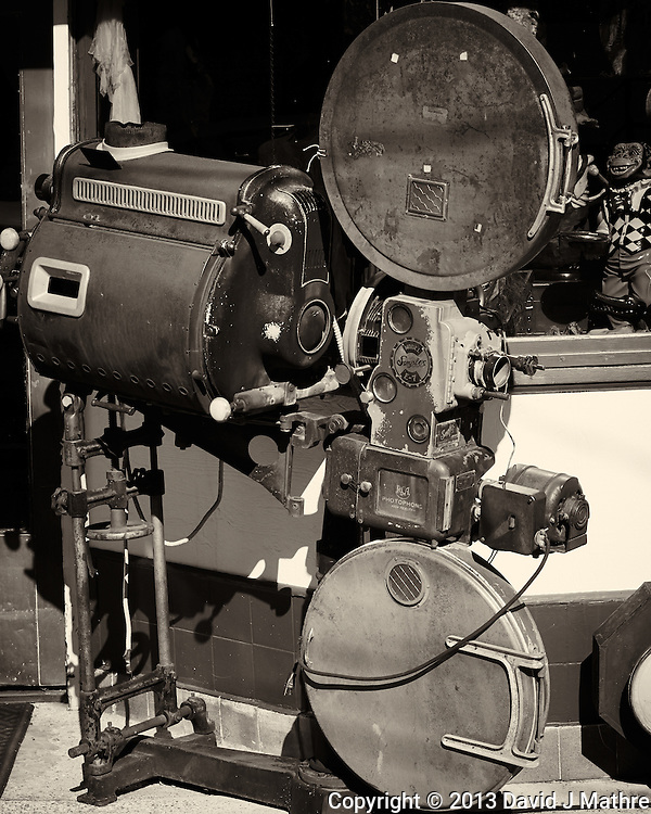 Simplex E-7 Movie Projector. Jerome, Arizona. Gone to See America 2013. Image taken with a Nikon 1 V2 camera and 32mm f/1.2 lens (ISO 160, 32 mm, f/4.5, 1/1250 sec). Image processed and converted to B&W with Capture One Pro 7. Nikonians ANPAT-13. (David J Mathre)