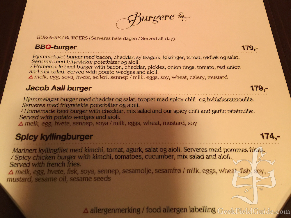 Detail from the Jacob Aall menu, highlighting the food allergen labeling. (Warren Schultz)