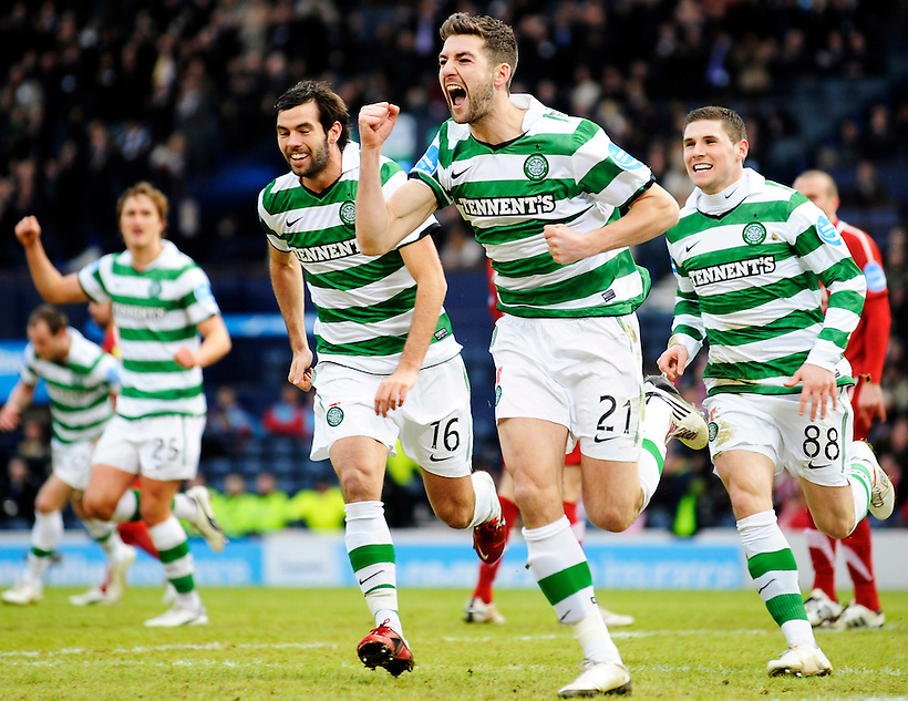 29TH JAN 2011, ABERDEEN V CELTIC CO-OPERATIVE INSURANCE CUP SEMI FINAL, HAMPDEN PARK, GLASGOW, CELTIC'S CHARLIE MULGREW GOAL CELE 0-2, ROB CASEY PHOTOGRAPHY. (ROB CASEY/ROB CASEY PHOTOGRAPHY)