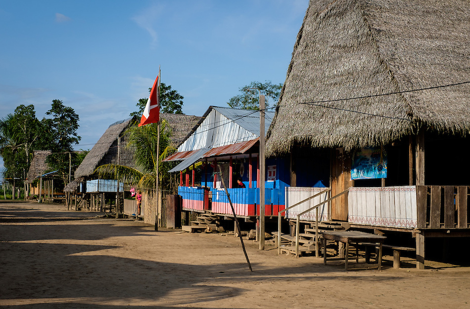 LORETO, PERU - CIRCA OCTOBER 2015: Main Street in the Village of Puerto Miguel, in the Yarapa river in the Peruvian Amazon. (Daniel Korzeniewski)