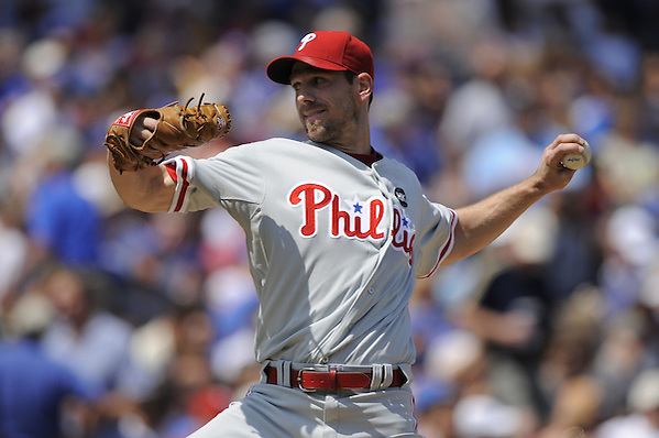CHICAGO - AUGUST 13:  Cliff Lee #34 of the Philadelphia Phillies pitches against the Chicago Cubs on August 13, 2009 at Wrigley Field in Chicago, Illinois.  The Phillies defeated the Cubs 6-1.  (Photo by Ron Vesely) (Ron Vesely)