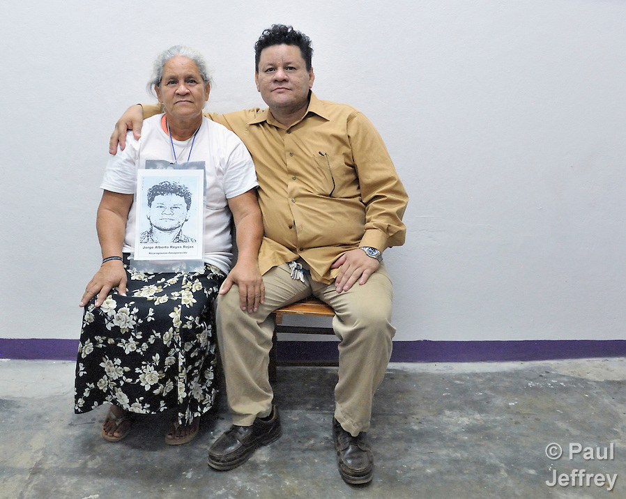 Santos del Socorro Rojas and her son Jorge Alberto Reyes Dávila, with whom she was reunited on December 16, 2013, in Tapachula, Mexico, after nine years of separation. Rojas, from Chinandega, Nicaragua, was one of several dozen Central American mothers who traveled as a group to Mexico to look for their loved ones who had disappeared along the migrant trail north. (Paul Jeffrey)