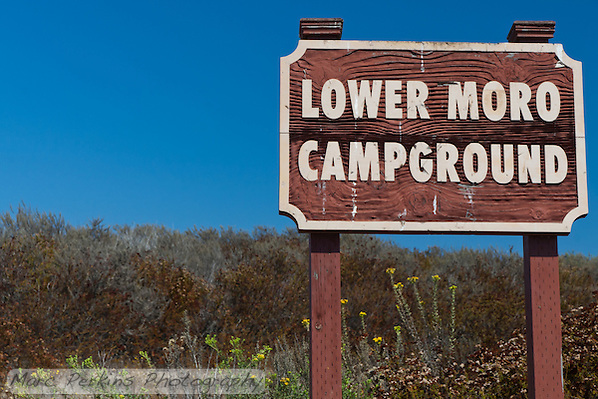 The sign marking the entrance to the Lower Moro campground.  It's tough to miss. (Marc C. Perkins)