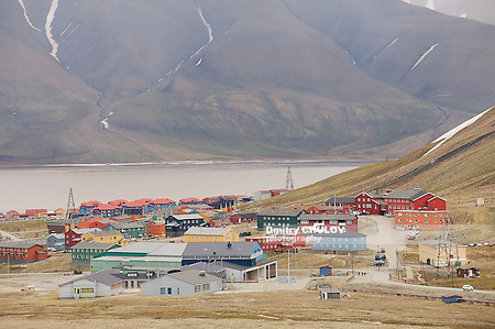 LONGYEARBYEN, NORWAY - SEPTEMBER 01, 2011: View to the town of Longyearbyen, Norway. (Dmitry Chulov)