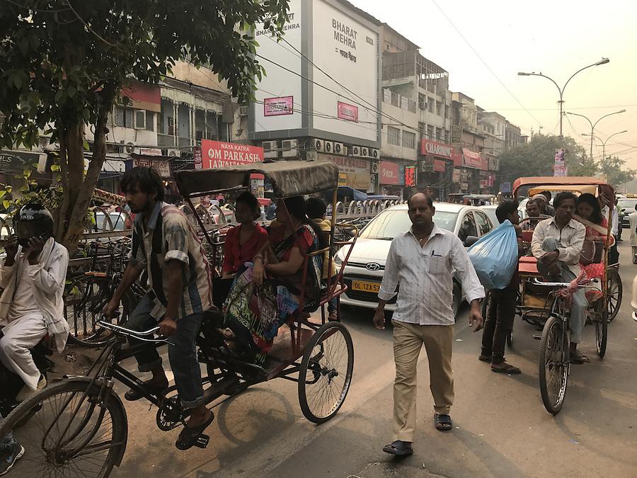 NEW DELHI, INDIA - CIRCA OCTOBER 2016: Street around the spice market and the Chandni Chowk area in Old Delhi. (Daniel Korzeniewski)