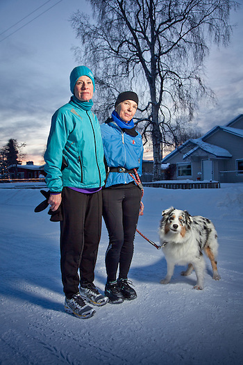 South Addition running buddies, Sarah Kleedehn and Mary Ann Chrisholm, Anchorage, Alaska (Clark James Mishler)