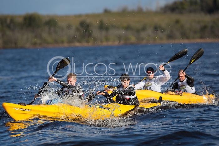 Kayak Paddlers In Strahan Harbour. Adventure Racing. Swisse Mark Webber Challenge 2013. Tasmania, Australia. 29/11/2013. Photo By Lucas Wroe (Lucas Wroe)