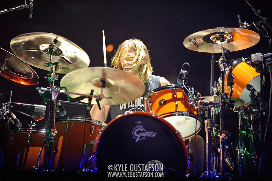 WASHINGTON, DC - November 11th, 2011 - Drummer Taylor Hawkins performs with the Foo Fighters at the Verizon Center in Washington, D.C. The show was the band's first area appearance behind their 2010 album Wasting Light.  (Photo by Kyle Gustafson/For The Washington Post) (Kyle Gustafson/FTWP)