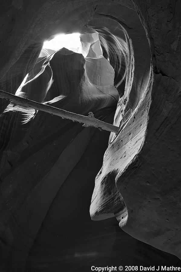 Upper Antelope Canyon, Page Arizona. Image taken with a Nikon D3 camera and 24-70 mm f/2.8 lens (ISO 200, 24 mm, f/16, 3 sec). Image processed with Capture One Pro. Converted to B&W with NIK Silver Efex Pro 2 (David J Mathre)