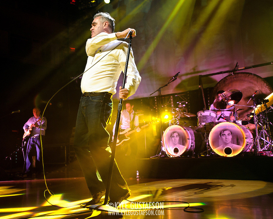 "BETHESDA, MD, DC - January 16th, 2013 - British music legend Morrissey (front) performs at the Strathmore Music Hall with Boz Boorer, Solomon Walker and Anthony Burulcich. His set included solo hits like ""Everyday Is Sunday"" as well as material from The Smiths, such as ""Still Ill.""( Photo by Kyle Gustafson/For The Washington Post) (Kyle Gustafson/For The Washington Post)"