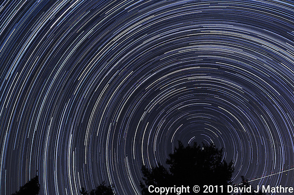 North View Star Trails. Summer Night in New Jersey. Image taken with a Nikon D3s and 24 mm f/1.4G lens (ISO 400, 24 mm, f/4, 30 sec). Composite of 326 images combined using the Startrails program. (David J Mathre)