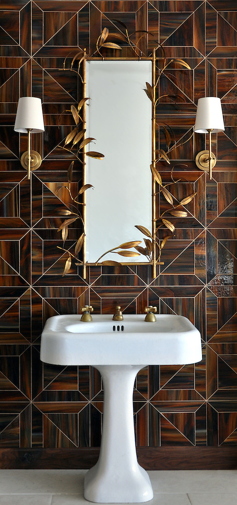 Truman in water jet glass Tortoise Shell. As seen in Elle Decor (New Ravenna Mosaics 2012)