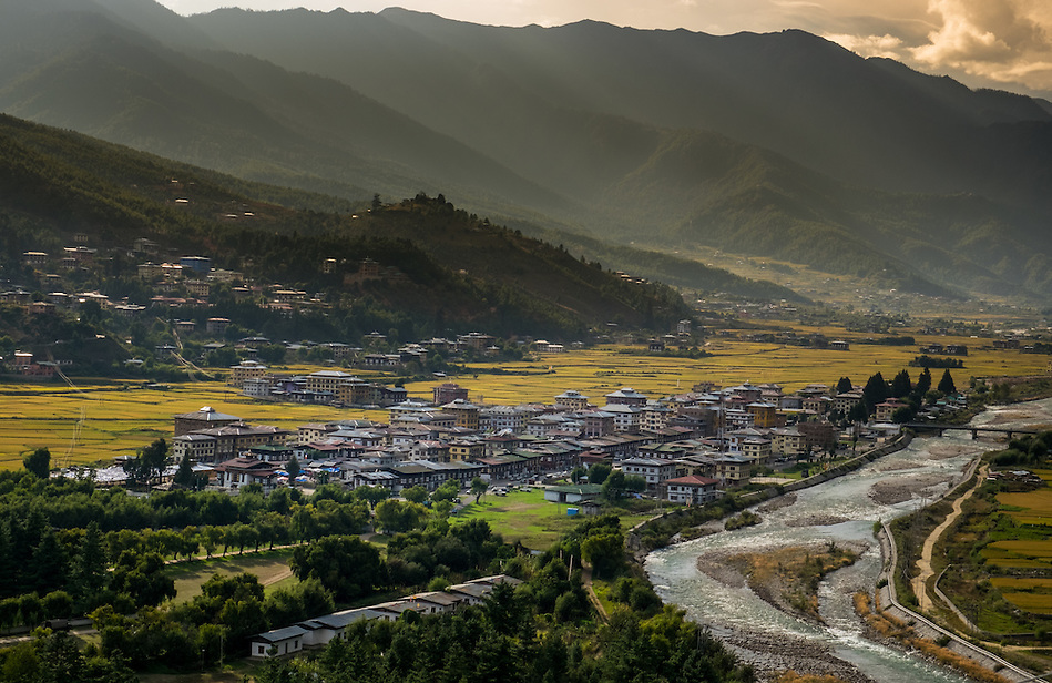 PARO, BHUTAN - CIRCA October 2014: View of Paro and Paro Chu rive in, Bhutan (Daniel Korzeniewski)