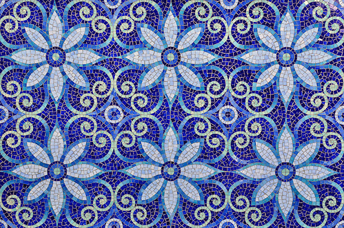 Natasha, a jewel glass mosaic is shown in Iolite, Lapis Lazuli, Blue Spinel, Covellite, and Feldspar. (www.ChrisGlennon.com   (757)331-4024)