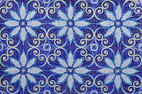 Natasha, a jewel glass mosaic is shown in Iolite, Lapis Lazuli, Blue Spinel, Covellite, and Feldspar. (www.ChrisGlennon.com   (757)331-4024)