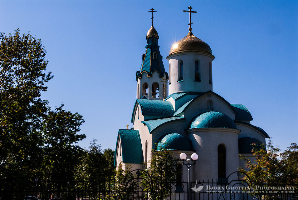 Russia, Sakhalin, Yuzhno-Sakhalinsk. A new Orthodox church. (Photo Bjorn Grotting)