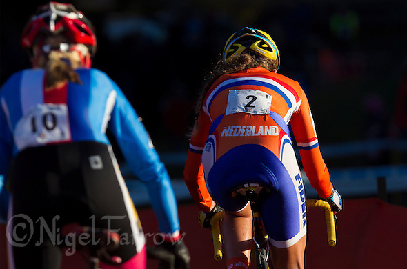 03 NOV 2012 - IPSWICH, GBR - Sophie de Boer (NED) (right) of the Netherlands makes her way round the course during the Elite Women&#039;s European Cyclo-Cross Championships in Chantry Park, Ipswich, Suffolk, Great Britain (PHOTO (C) 2012 NIGEL FARROW) (NIGEL FARROW/(C) 2012 NIGEL FARROW)