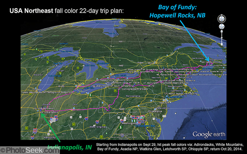 USA Northeast fall color 22-day trip plan: Starting from Indianapolis on Sept 29, hit peak fall colors via: Adirondacks, White Mountains, Bay of Fundy, Acadia NP, Watkins Glen, Letchworth SP, Ohiopyle SP, returning Oct 20, 2014. www.photoseek.com (© Tom Dempsey / PhotoSeek.com)