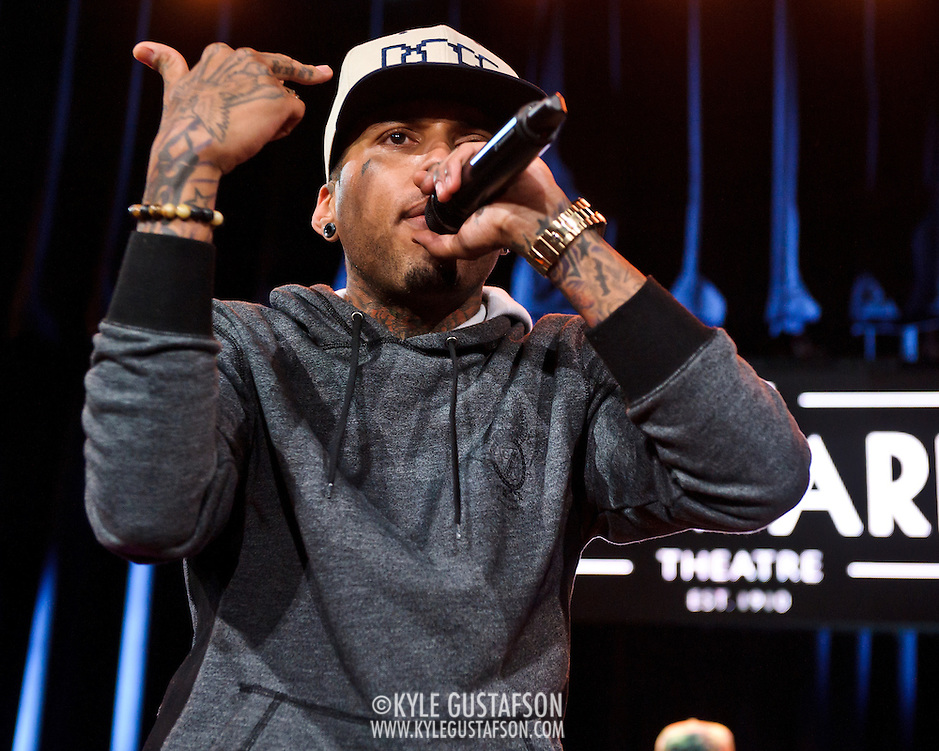 "WASHINGTON, DC -  May 6th, 2012 -  Los Angeles rapper Kid Ink performs at the recently re-opened Howard Theatre in Washington, D.C. Kid Ink was recently featured as one of XXL Magazine's ""Freshmen Class"" for 2012. (Photo by Kyle Gustafson/For The Washington Post) (Kyle Gustafson/For the Washington Post)"