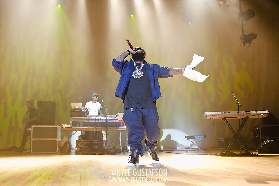"WASHINGTON, DC - February 23rd, 2012 - Rick Ross, recently named ""The Hottest MC In The Game"" for 2011 by MTV, performs at DAR Constitution Hall in Washington, D.C. (Photo by Kyle Gustafson/For The Washington Post) (Kyle Gustafson/FTWP)"