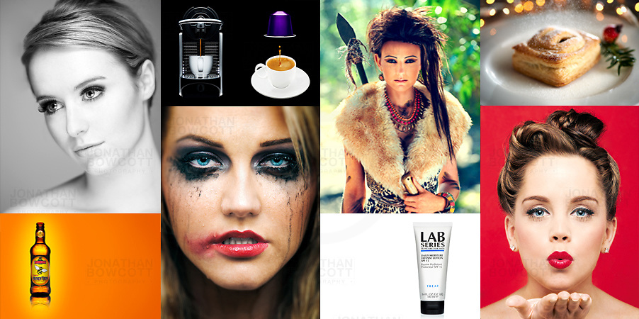 A montage showing examples of people and product images by bristol Photographer Jonathan Bowwcott (JONATHAN BOWCOTT)