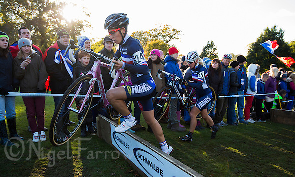 03 NOV 2012 - IPSWICH, GBR - Lucie Chainel-Lefevre (FRA) (left) of France clears a hurdle during the Elite Women's European Cyclo-Cross Championships in Chantry Park, Ipswich, Suffolk, Great Britain (PHOTO (C) 2012 NIGEL FARROW) (NIGEL FARROW/(C) 2012 NIGEL FARROW)