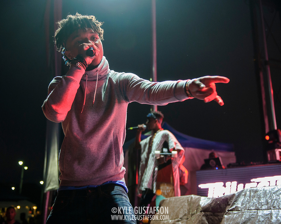 "WASHINGTON, DC - August 23rd, 2014 - Swae Lee and Slim Jimmy of Rae Sremmurd perform at the 3rd annual Trillectro Music Festival at RFK Stadium in Washington, D.C. The group's single ""No Flex Zone"" is currently moving up the hip-hop charts. (Photo by Kyle Gustafson / For The Washington Post) (Kyle Gustafson/For The Washington Post)"