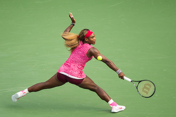 Serena Williams during her 6-1, 6-2 semifinal victory over Ekaterina Makarova in the semifinals of the 2014 U.S. Open Tennis Championship at the USTA Billie Jean King National Tennis Center in Queens, New York. ©2014 Darren Carroll (Darren Carroll)