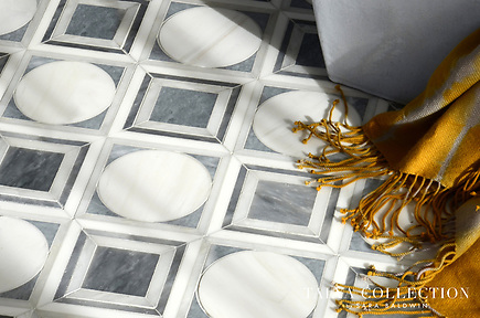Cicero, a stone waterjet mosaic shown in Allure honed, Afyon White polished, and Dolomite polished, is part of the Talya Collection by Sara Baldwin for Marble Systems. (Sara Baldwin)