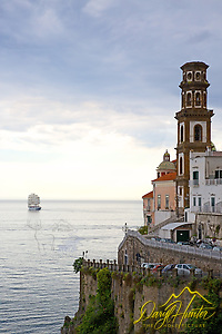 The Royal Clipper, a tall ship sails past along the Amalfi Coast.
