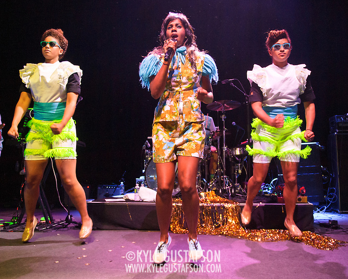 WASHINGTON, DC - June 18th, 2012 - Santi White, aka Santigold, (center) performs a sold out show at the 9:30 Club in Washington, D.C. White released her sophomore album, Master of My Make-Believe, in April. (Photo by Kyle Gustafson/For The Washington Post) (Kyle Gustafson/For The Washington Post)