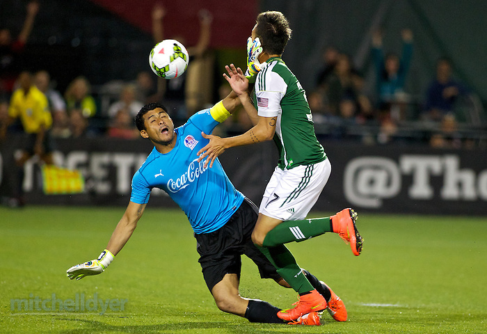September 16, 2014; Portland, OR, USA; Portland Timbers midfielder Maximiliano Urruti (37) gets past CD Olimpia goalkeeper Noel Valladares (27) to score a goal in the second half during group play of the CONCACAF Champions League at Providence Park. Photo: Craig Mitchelldyer-CONCACAF (Craig Mitchelldyer)