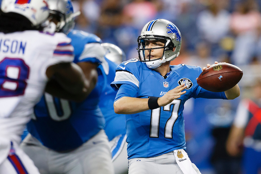 Detroit Lions quarterback Kellen Moore (17) passes against the Buffalo Bills during an preseason NFL football game at Ford Field in Detroit, Thursday, Sept. 3, 2015. (AP Photo/Rick Osentoski) (Rick Osentoski/AP)