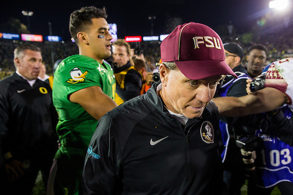 Jimbo Fisher, Haed Coach, Florida State University. Photographed at the 2015 Rose Bowl Game in Pasadena, California, on January 1, 2015. (Photograph ©2015 Darren Carroll) (Darren Carroll)