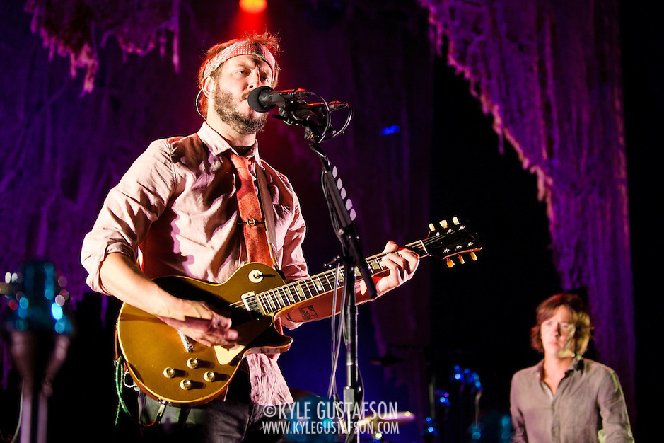 COLUMBIA, MD - September 15th, 2012 - Justin Vernon and C.J. Camerieri of Bon Iver perform at Merriweather Post Pavilion in Columbia, MD. The group graduated from large clubs to amphitheatres on the success of their second, self-titled album. (Photo by Kyle Gustafson/For The Washington Post) (Kyle Gustafson/For The Washington Post)