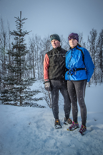 Darin and Lisa Marin with their dog on the Tony Knowles Coastal Trail at the West end of Westchester Lagoon, Anchorage (Clark James Mishler)