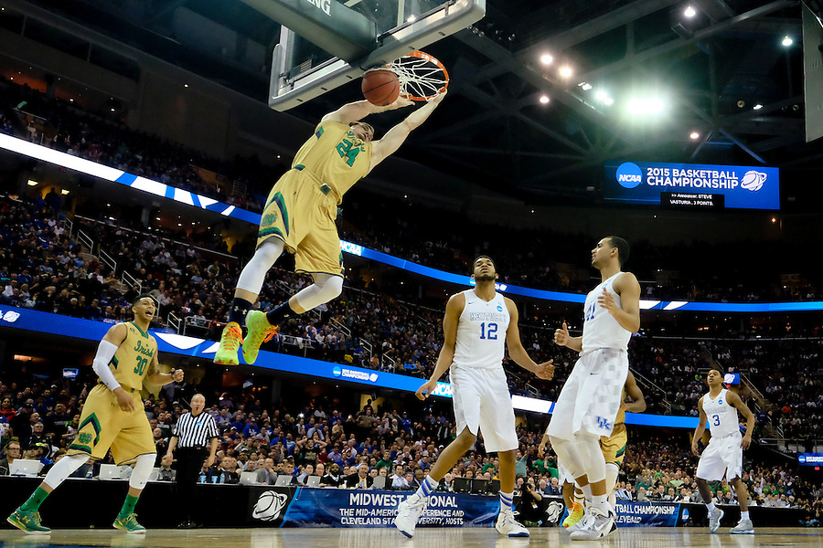 Mar 28, 2015; Cleveland, OH, USA; Notre Dame Fighting Irish guard/forward Pat Connaughton (24) dunks against the Kentucky Wildcats in the finals of the midwest regional of the 2015 NCAA Tournament at Quicken Loans Arena. Mandatory Credit: Rick Osentoski-USA TODAY Sports (Rick Osentoski/Rick Osentoski-USA TODAY Sports)