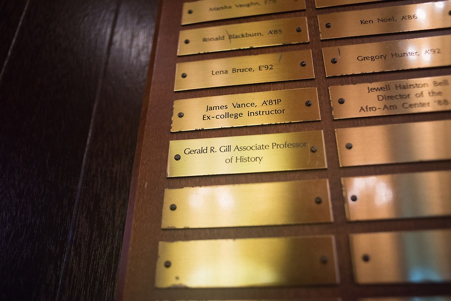 4/29/16 – Medford/Somerville, MA – The plaque commemorating African American alumni is displayed in Goddard Chapel on April 29, 2016. (Sofie Hecht / The Tufts Daily) (Sofie Hecht / The Tufts Daily)