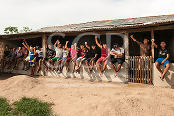 Pará State, Brazil. Kayapó students of the Komomoyea Kovoero Indigenous Secondary School in the Aldeia Indigena Kuxonety Pokee, a Terena village in the Gleba Iriri Indigenous Territory. (Sue Cunningham/SCP)