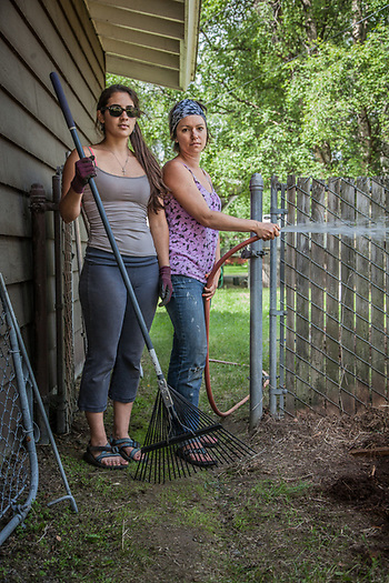 Alexia Buedea and Karen Florian of G&G Garden Services apply their profession in South Addition, Anchorage  alexia.guedea@yahoo (Clark James Mishler)
