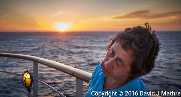 Sunrise Breakfast Club. Yet another sunrise portrait.  MV World Odyssey At Sea. Image taken with a Fuji X-T1 camera and 23 mm f/1.4 lens (David J Mathre)