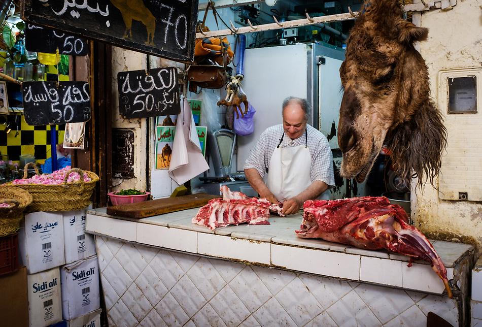 FEZ, MOROCCO - CIRCA APRIL 2017: Portrait of Moroccan meat seller at the Medina in Fez (Daniel Korzeniewski)
