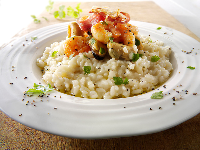Classic risotto with prawns, mussels and bacon (Paul Williams)