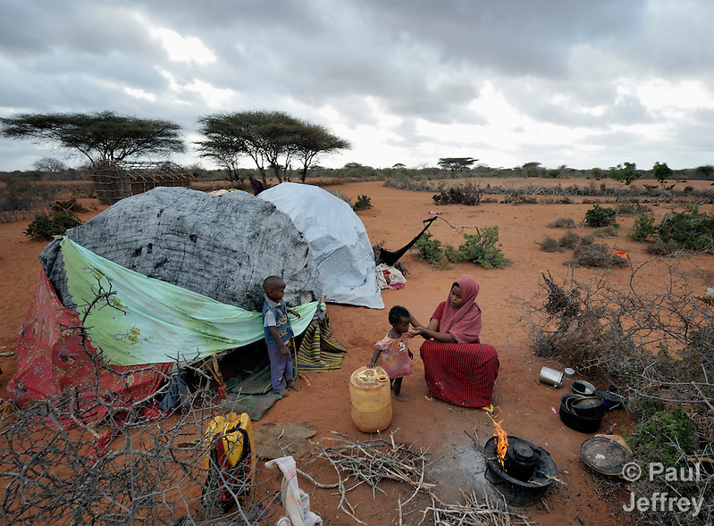 Sagul Mohammed Omar, 24, just arrived with her five children in the Dadaab refugee camp in northeastern Kenya. Tens of thousands of refugees have fled drought-stricken Somalia in recent weeks, swelling what was already the world's largest refugee settlement. (Paul Jeffrey)