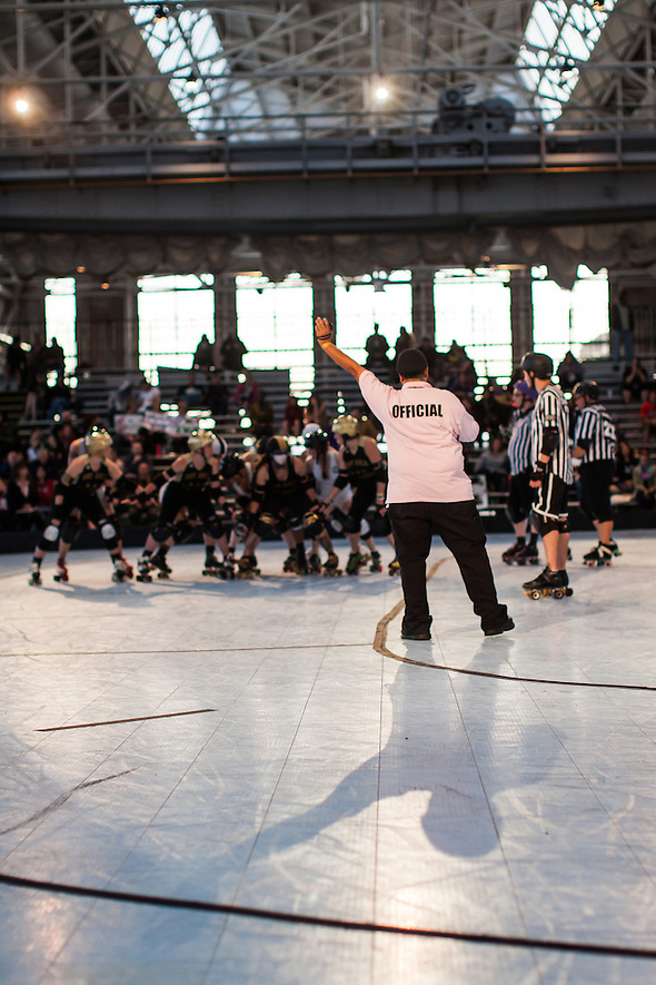 At the 2014 Golden Bowl in Richmond, California, the Bay Area Derby Girls Golden Girls defeat the Windy City Rollers during the first day of the two day event. (bryan farley)