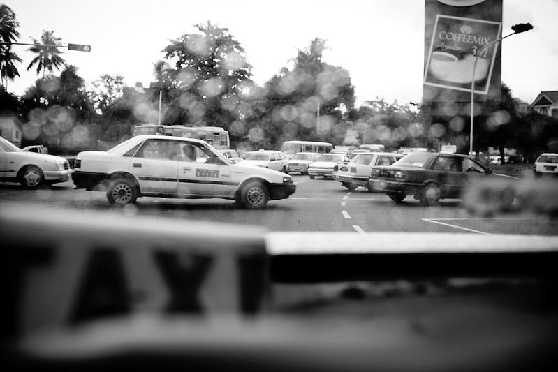 The traffic in Yangon, Myanmar, as seen through the back of an aging taxi. (Quinn Ryan Mattingly)
