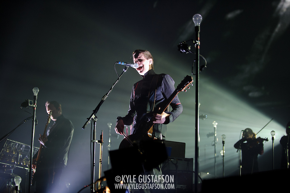 FAIRFAX, VA - March 24th, 2013 -  Georg Hólm (left) and Jonsi  (middle) of Sigur Ros performs at the Patriot Center in Fairfax, VA on the opening date of their 2013 North American tour.  The band will hit 15 cities in North America touring behind their 2012 album, Valtari. (Photo by Kyle Gustafson/For The Washington Post) (Kyle Gustafson/For The Washington Post)