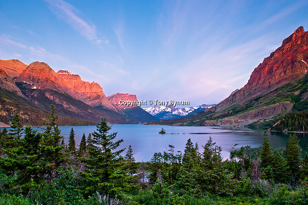 wild goose island, glacier national park, dramatic colors and sky, summer, crown of the continent, montana, usa (tonybynum)