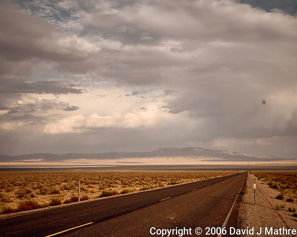 Extraterrestrial highway somewhere near Area 51 in Nevada. Image taken with a Nikon D200 camera and 18-70 mm kit lens (ISO 400, 27 mm, f/10, 1/400 sec). (David J Mathre)